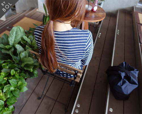 BOL natural stripe top / navy 재입고