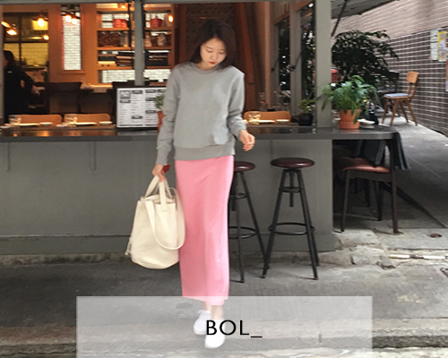 BOL soft long skirt / pink