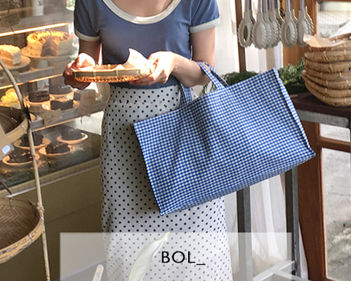 BOL square check bag / blue