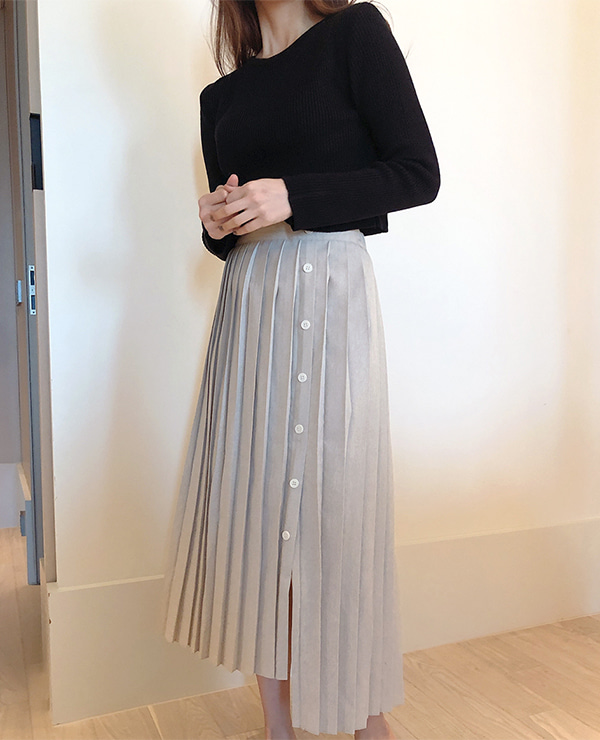 unbal button skirt