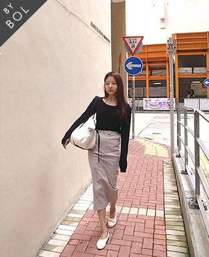 BOL 2ela long skirt-light gray