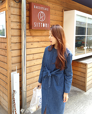 denim ribbon dress