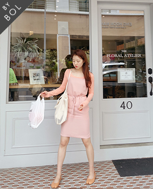BOL simple belt dress / pink
