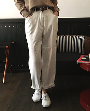 double cotton pants  / white