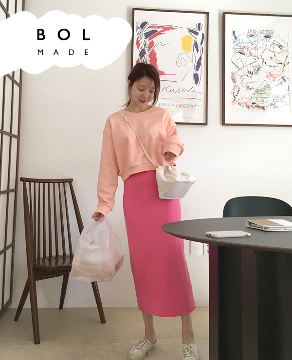 BOL soft long skirt / hot pink