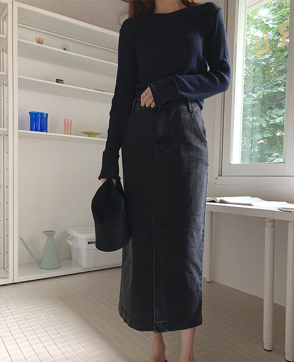 long denim skirt-입고지연
